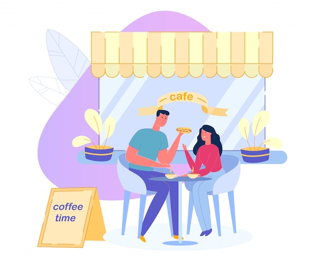 Pareja bebe café y come algo en la cafetería.