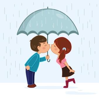 Pareja besándose bajo la lluvia