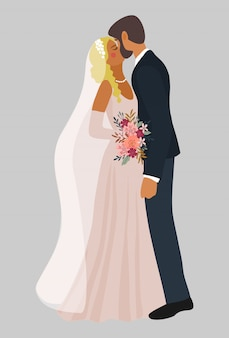 Pareja de besos de recién casados