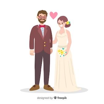 Pareja de boda cariñosa dibujada a mano