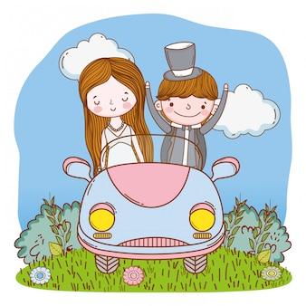 Pareja de boda en coche linda caricatura