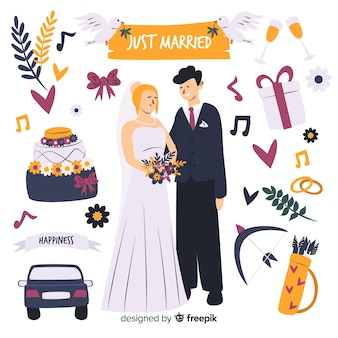 Pareja de boda dibujada a mano con elementos