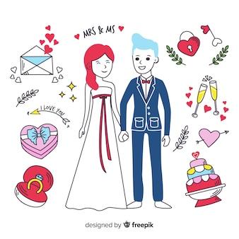 Pareja de boda dibujada a mano y elementos