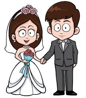 Pareja de boda de dibujos animados