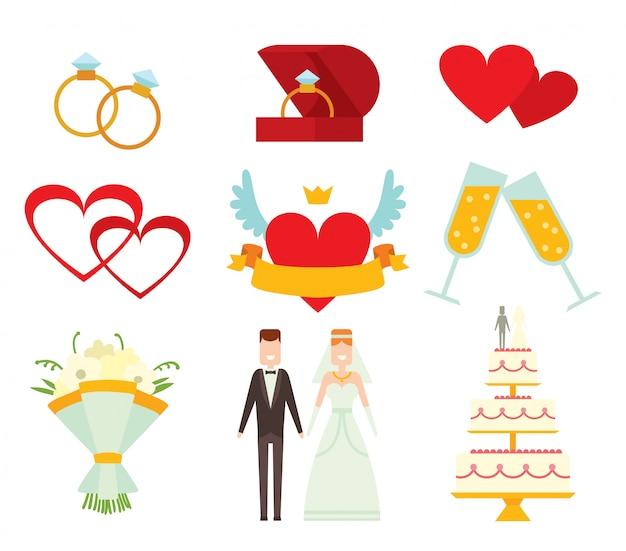 Pareja de boda y elementos de dibujos animados estilo vector ilustración