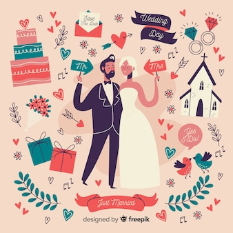 Pareja de boda estilo dibujado a mano