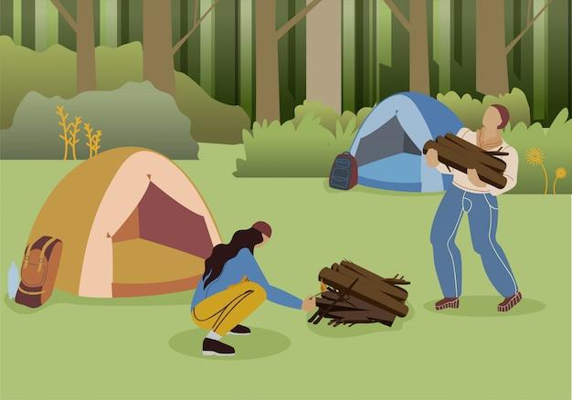 Pareja bosque camping plano