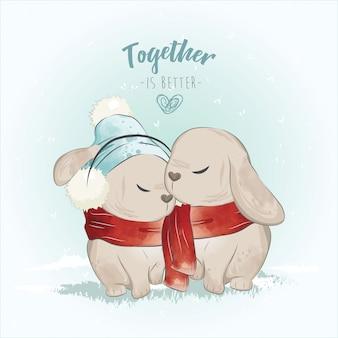 La pareja bunny en la navidad
