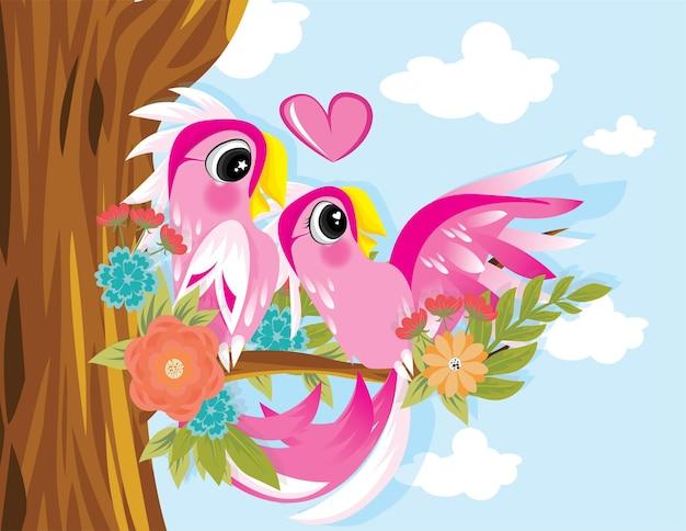 Pareja cacatúa ala abierta, loro rosa con vector de árbol para tarjeta de san valentín