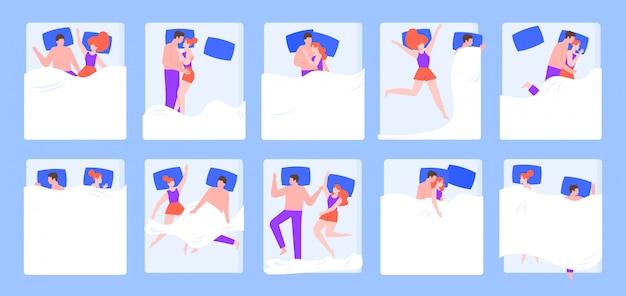 Pareja en la cama pose de dormir, joven pareja romántica durmiendo en el dormitorio en pijama, conjunto de ilustración de posición de sueño nocturno. pareja romántica acostado juntos y dormir en la cama