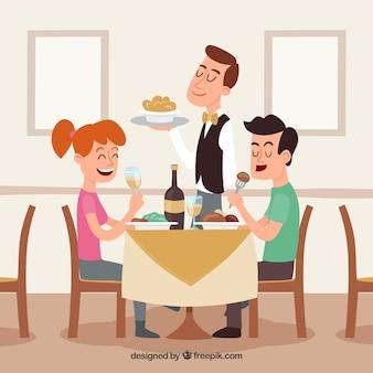 Pareja y camarero sonrientes en el restaurante
