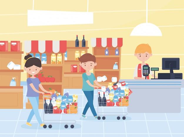 Pareja con carros en el mercado en caja registradora vendedor compra de comida en exceso