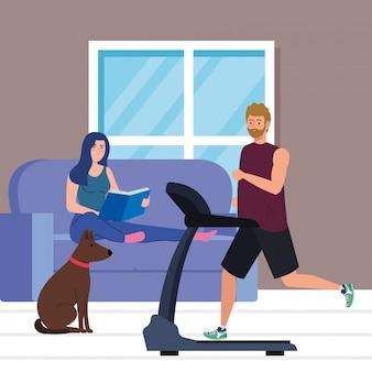 Pareja en la casa, haciendo actividades, hombre corriendo en la cinta y mujer leyendo el libro en la casa