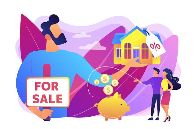 Pareja casada buscando casa. agente de bienes raíces que ofrece propiedad con descuento. casa en venta, venta de casa mejor trato, concepto de servicios de agente inmobiliario. ilustración aislada violeta vibrante brillante