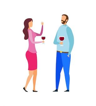 Pareja casada cata vino ilustración vectorial