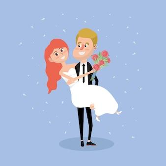 Pareja casada con ramo de flores en la mano