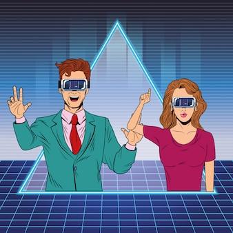 Pareja con casco de realidad virtual