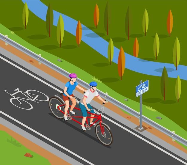 Pareja en cascos durante el viaje en bicicleta tándem en carril bici en composición isométrica de verano
