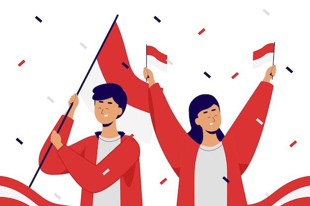 Pareja celebrando el día del compromiso de la juventud. declaración de sumpah pemuda.
