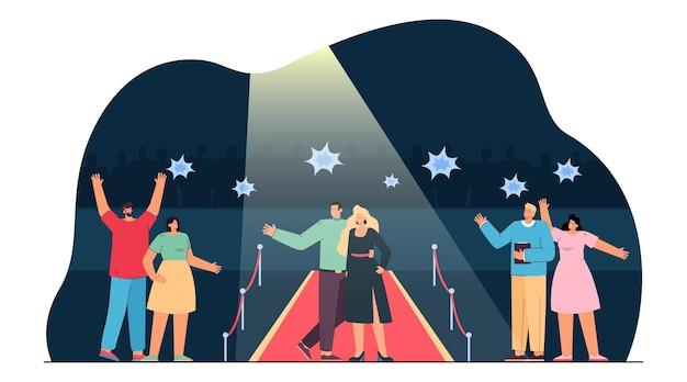 Pareja de celebridades caminando por la alfombra roja. ilustración plana