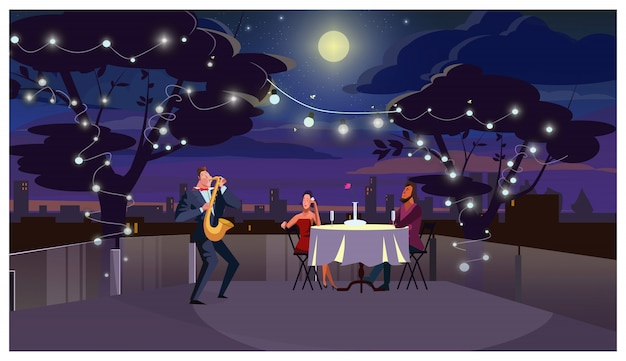 Pareja en la cena romántica al aire libre ilustración