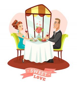 Pareja con cena romántica en el restaurante