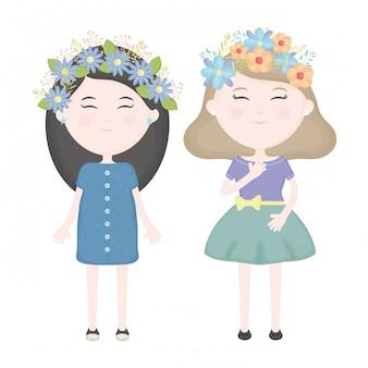 Pareja de chicas lindas con corona floral en los personajes del cabello.