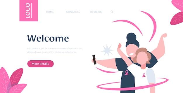 Pareja con cinta rosa hombre mujer tomando selfie foto en la cámara del teléfono inteligente día mundial del cáncer prevención de la conciencia de la enfermedad de mama