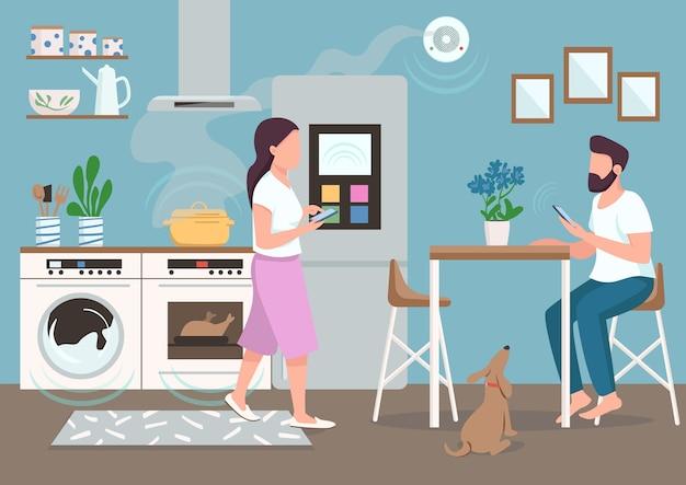 Pareja en cocina inteligente color plano. personas que utilizan electrodomésticos automatizados. hombre y mujer joven con personajes de dibujos animados 2d de teléfonos inteligentes con comedor en el fondo