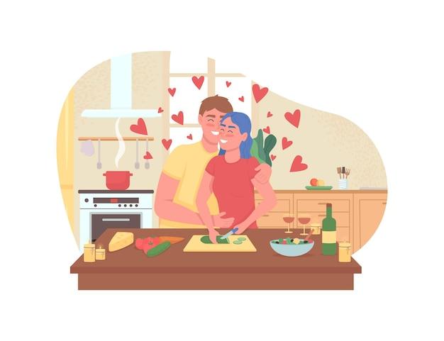 Pareja cocinando cena romántica banner web, cartel.