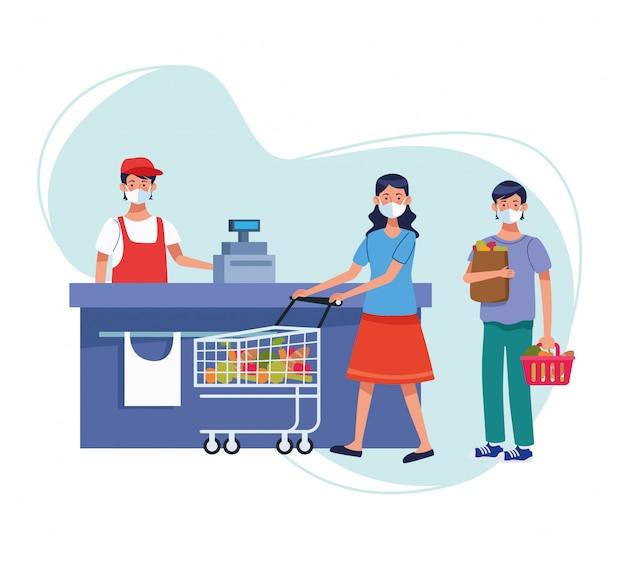 Pareja de compras en el supermercado con mascarilla, diseño de ilustraciones vectoriales