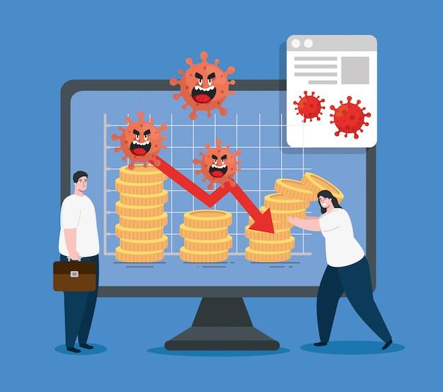 Pareja y computadora con íconos de impacto económico por covid 2019
