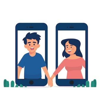 Pareja de concepto de relación de larga distancia tomados de la mano entre dos teléfonos