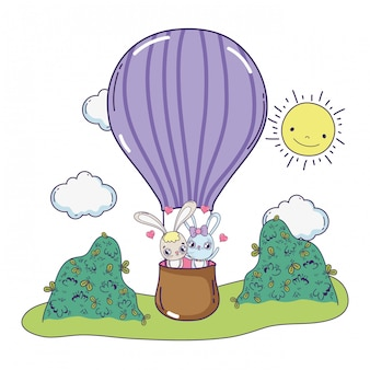 Pareja de conejos volando en globo aire día de san valentín caliente