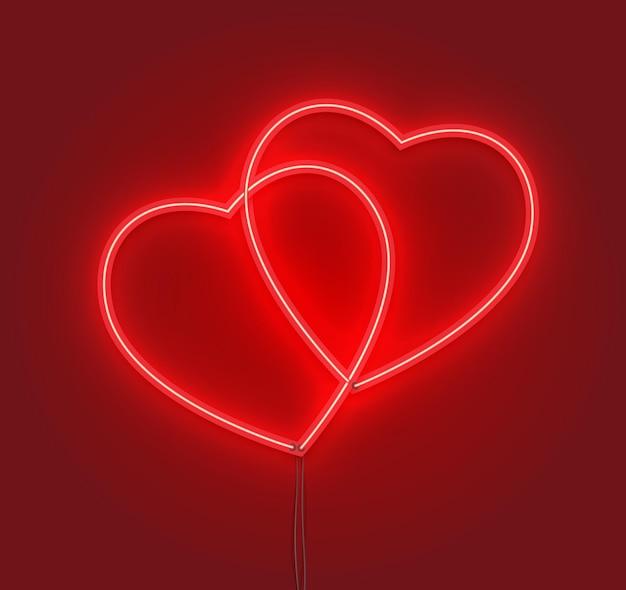 Pareja de corazones en efecto letrero de neón