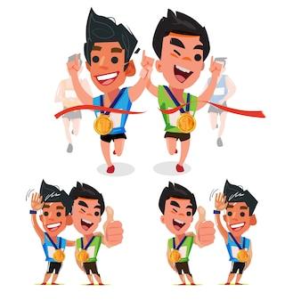 Pareja de corredores en varias acciones-ilustración vectorial