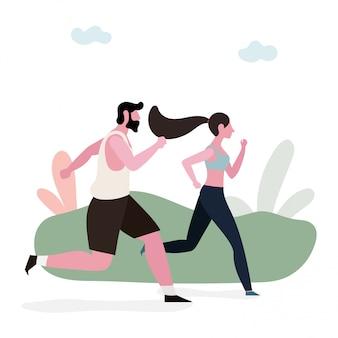 Pareja corriendo juntos