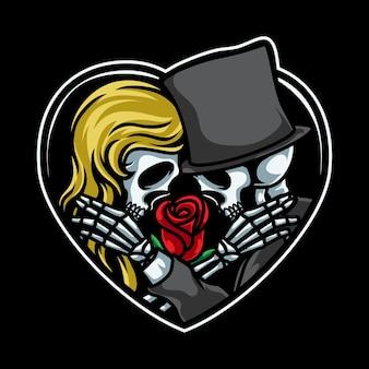 Pareja, cráneo, romántico, ilustración