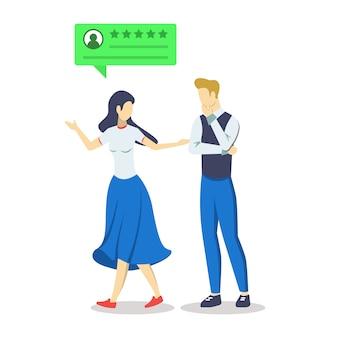 Pareja con crítica positiva burbuja semi rgb color ilustración. experiencia de usuario. comentarios de los consumidores. satisfacción del cliente. evaluación de calidad. clasificación. personaje de dibujos animados aislado en blanco