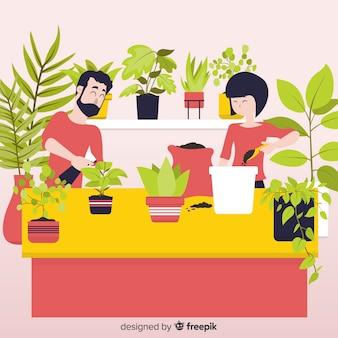 Pareja cuidando plantas