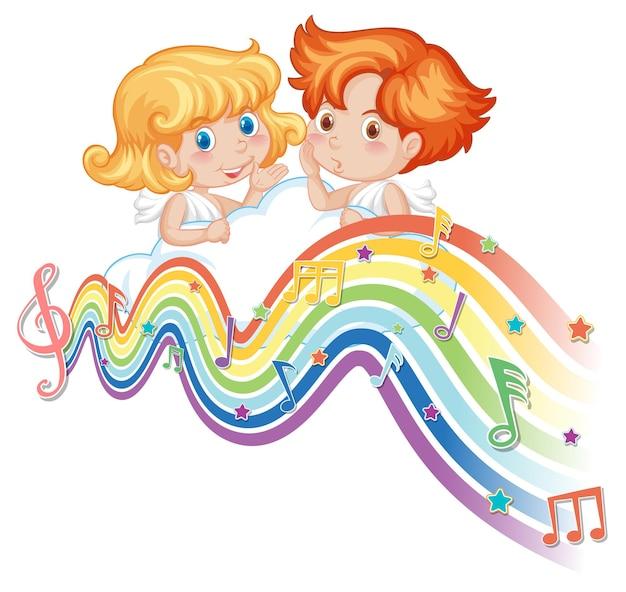 Pareja de cupido con símbolos de melodía en la onda del arco iris