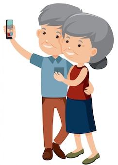 Pareja de ancianos tomando una foto juntos