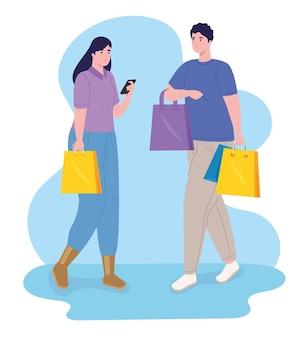 Pareja, en, día de compras