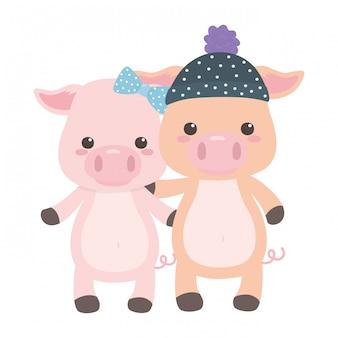 Pareja de dibujos animados de cerdos
