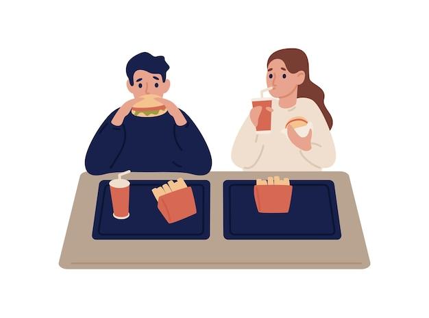 Pareja de dibujos animados comiendo comida rápida en la cafetería ilustración plana