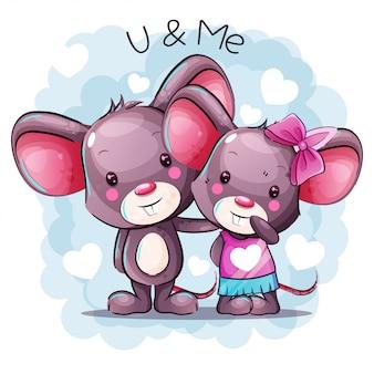 Pareja de dibujos animados lindo bebé ratón