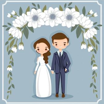 Pareja de dibujos animados lindo para tarjeta de invitaciones de boda