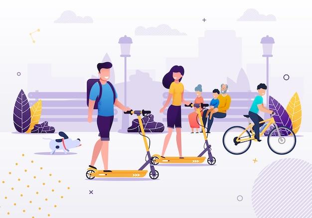 Pareja de dibujos animados montando scooters en el parque o área verde con bicicleta de montar a caballo de perro chico