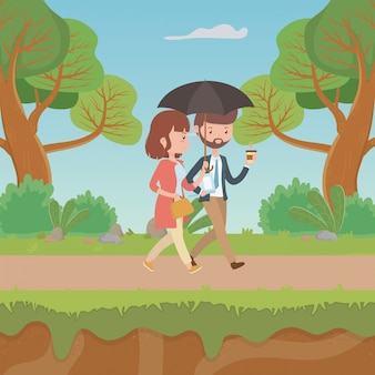 Pareja de dibujos animados de mujer y hombre