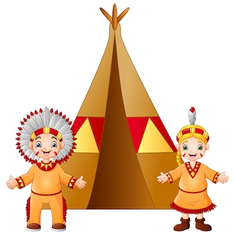 Pareja de dibujos animados nativos indios americanos con traje tradicional